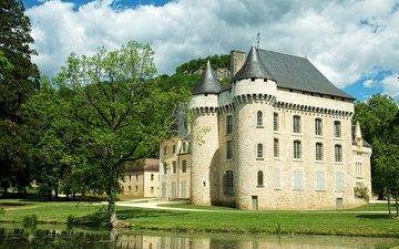 trees, castle, pond, france, champagne, castles