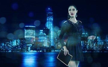 вечер, девушка, город, взгляд, черное платье, andresa alves