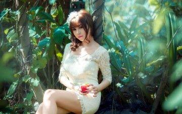 природа, кусты, сидит, яблоко, руки, азиатка, белое платье