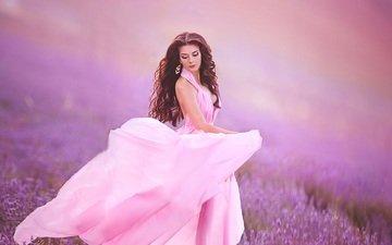цветы, девушка, поле, лаванда, волосы, лицо, макияж, розовое платье