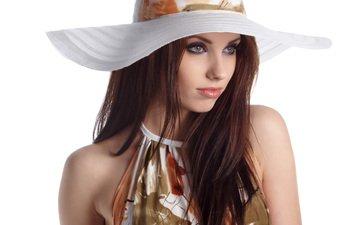 девушка, взгляд, модель, волосы, лицо, шляпа, шатенка, izabela magier, голые плечи