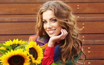 girl, smile, look, hair, face, sunflowers, curls, brown hair, izabela magier