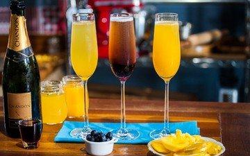 апельсин, коктейли, бокалы, шампанское, сок