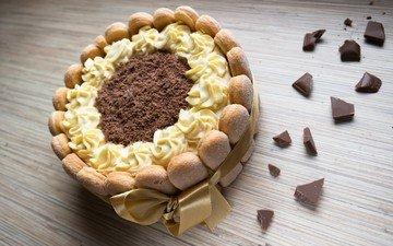 лента, шоколад, печенье, торт, крем