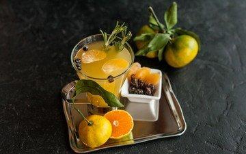 напиток, фрукты, мандарины, фреш, розмарин