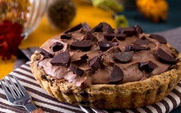 шоколад, сладость, выпечка, пирог, крем