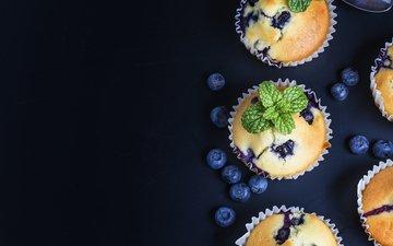 мята, ягоды, черника, сладкое, выпечка, кексы