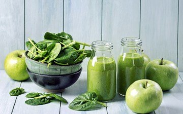 drink, apples, bottle, juice, spinach