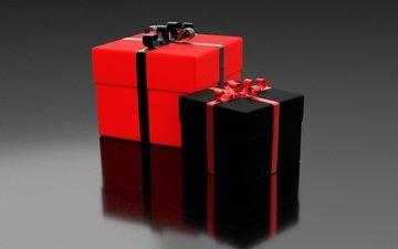 подарки, черный, красный, ленты, коробки