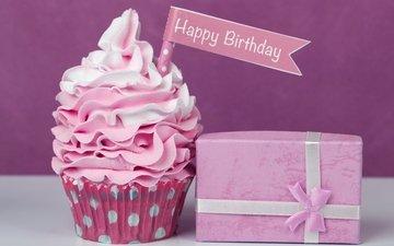 подарок, праздник, сладкое, выпечка, десерт, кекс, с днем рождения