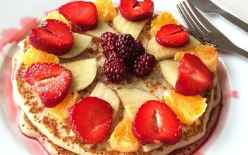 фрукты, яблоки, клубника, ягоды, десерт, мандарины, блины, ежевика, оладьи