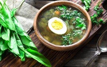 greens, egg, bowl, soup, sorrel
