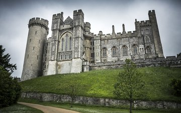 the sky, road, trees, nature, home, england, hill, the arundel castle, arundel