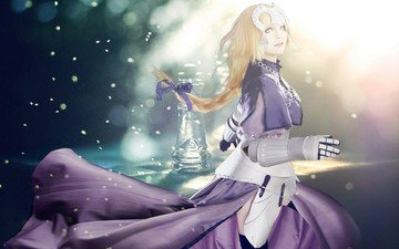 lights, girl, chess, purple, anime, bow, the game, glass, cyborg, cosplay, jehanne darc