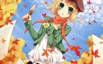 leaves, rose, autumn, paper, anime, girl, vocaloid, pen, takes, scarf, kagamine rin
