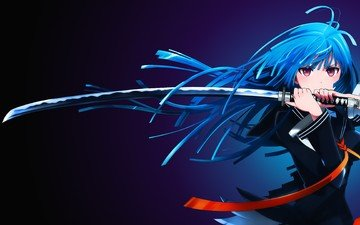 girl, sword, anime, samurai, kisara, lady, blue, black bullet