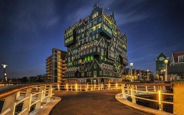 архитектура, здание, отель, нидерланды, голландия, zaandam