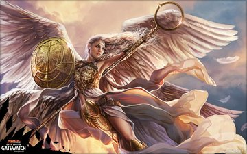 art, girl, look, wings, angel, hair, face, magic the gathering, mtg, linvala, the preserver, oath of the gatewatch, magali villeneuve