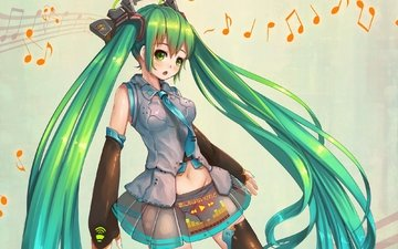art, anime, vocaloid, green hair, hatsune miku, fangxiang cuoluan