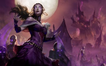 art, night, girl, look, the moon, zombies, hair, face, magic the gathering, liliana vess, eldritch moon, mtg, liliana is the last hope
