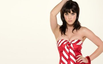 girl, dress, brunette, look, hair, face, singer, katy perry, neckline, bare shoulders