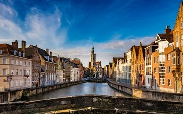 небо, мост, город, канал, дома, здания, бельгия, брюгге, jan van eyckplein