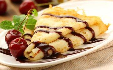 mint, berries, cherry, chocolate, pancakes