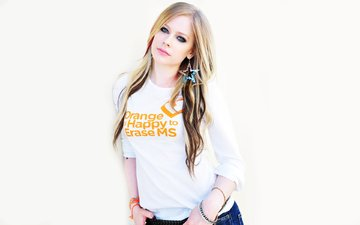girl, blonde, music, look, jacket, white background, singer, avril lavigne