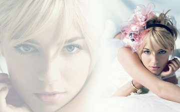 девушка, блондинка, взгляд, модель, волосы, лицо, актриса, голубые глаза, сиенна миллер
