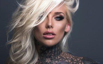 blonde, look, model, tattoo, hair, face, makeup, jack russell