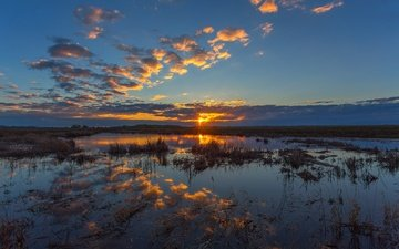 the sky, clouds, swamp, sunset, reflection, ural