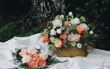 flowers, roses, bouquet, basket, and, peonies, composition