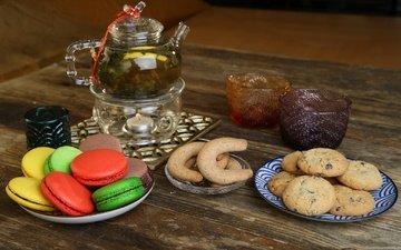 чай, чаепитие, печенье, выпечка, натюрморт, макаруны