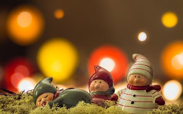 glare, men, moss, figures, toys, holiday, snowmen, bokeh