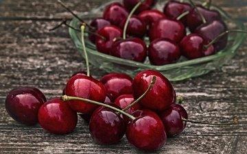 ягода, черешня, спелая, вишня, сочная, деревянная поверхность