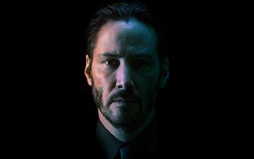 взгляд, актёр, тень, черный фон, лицо, киану ривз, джон уик