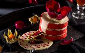 цветок, сладкое, торт, десерт, физалис, пирожное