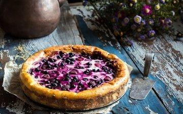 цветы, ягоды, черника, выпечка, пирог
