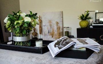 цветы, букет, ваза, свеча, журнал, книга, ранункулюс, композиция, лютики