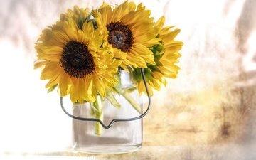 flowers, flowering, petals, sunflower, bouquet, sunflowers, yellow