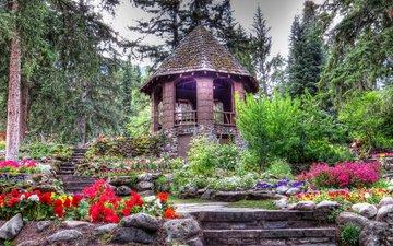 цветы, деревья, беседка, канада, сад каскад