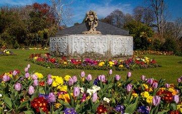 цветы, деревья, парк, великобритания, сад, тюльпаны, скульптура, газон, солнечно, уэльс, botanic gardens, swansea