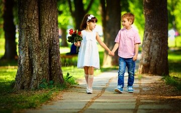 цветы, деревья, природа, парк, дорожка, лето, дети, девочка, букет, мальчик, друзья, аллея