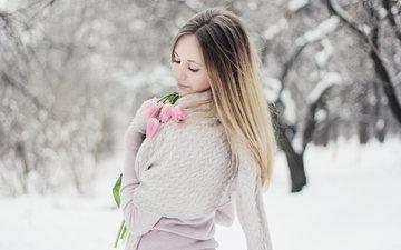 flowers, trees, snow, winter, girl, hair, face, tulips, rus