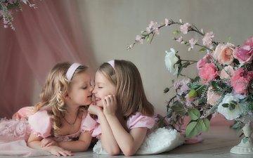 цветы, дети, девочки, нежность, платья, подружки