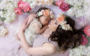цветы, девочка, ткань, ребенок, мама, женщина, венок, пионы, мать, малышка