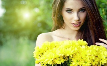 flowers, girl, bouquet, long-haired, yellow flowers