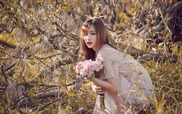 цветы, девушка, лето, взгляд, волосы, лицо