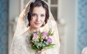 цветы, девушка, улыбка, взгляд, букет, макияж, невеста, фата