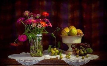 flowers, grapes, food, fruit, bouquet, napkin, still life, pear, zinnia